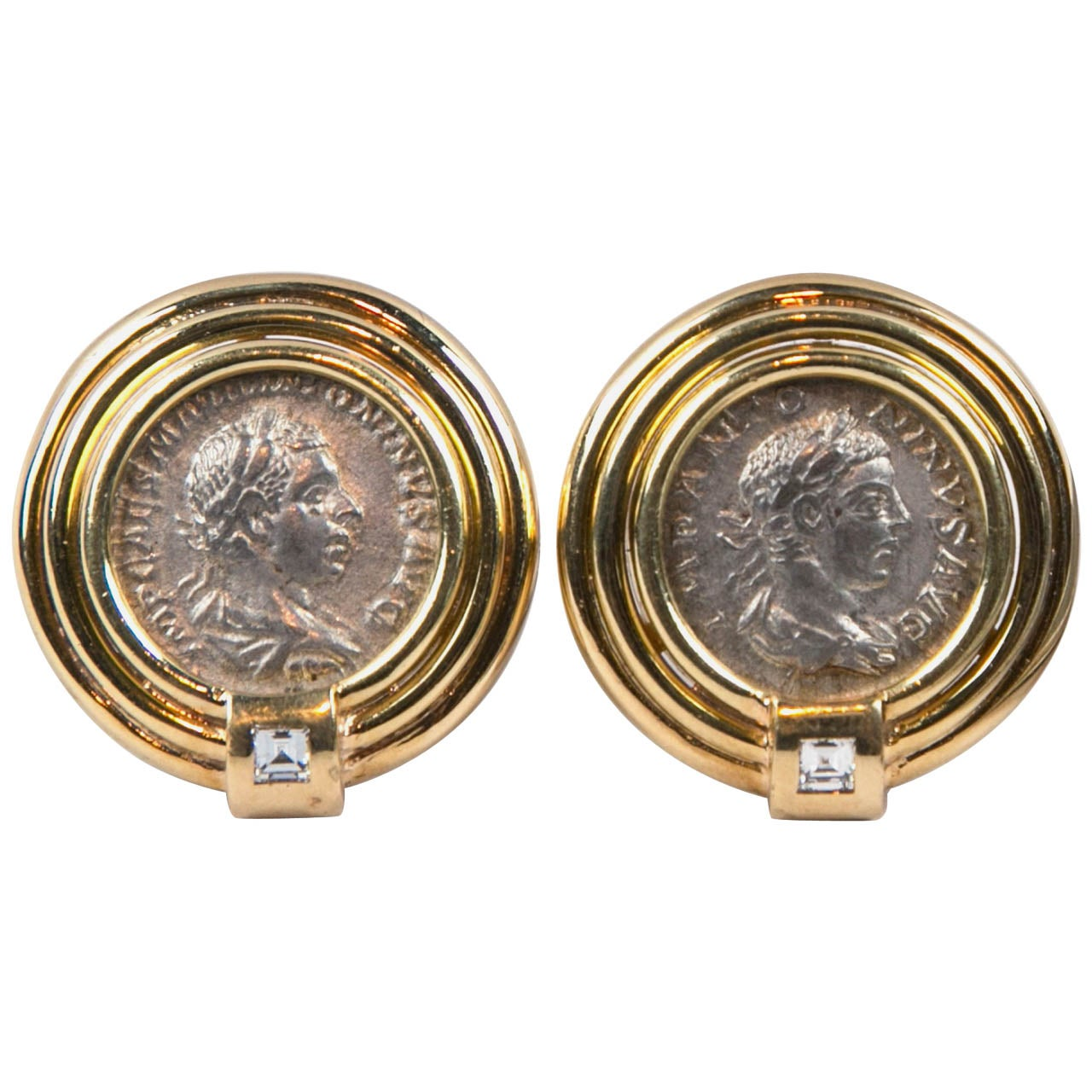 1960s Ancient Greek Coin Diamond Gold Earrings at 1stdibs
