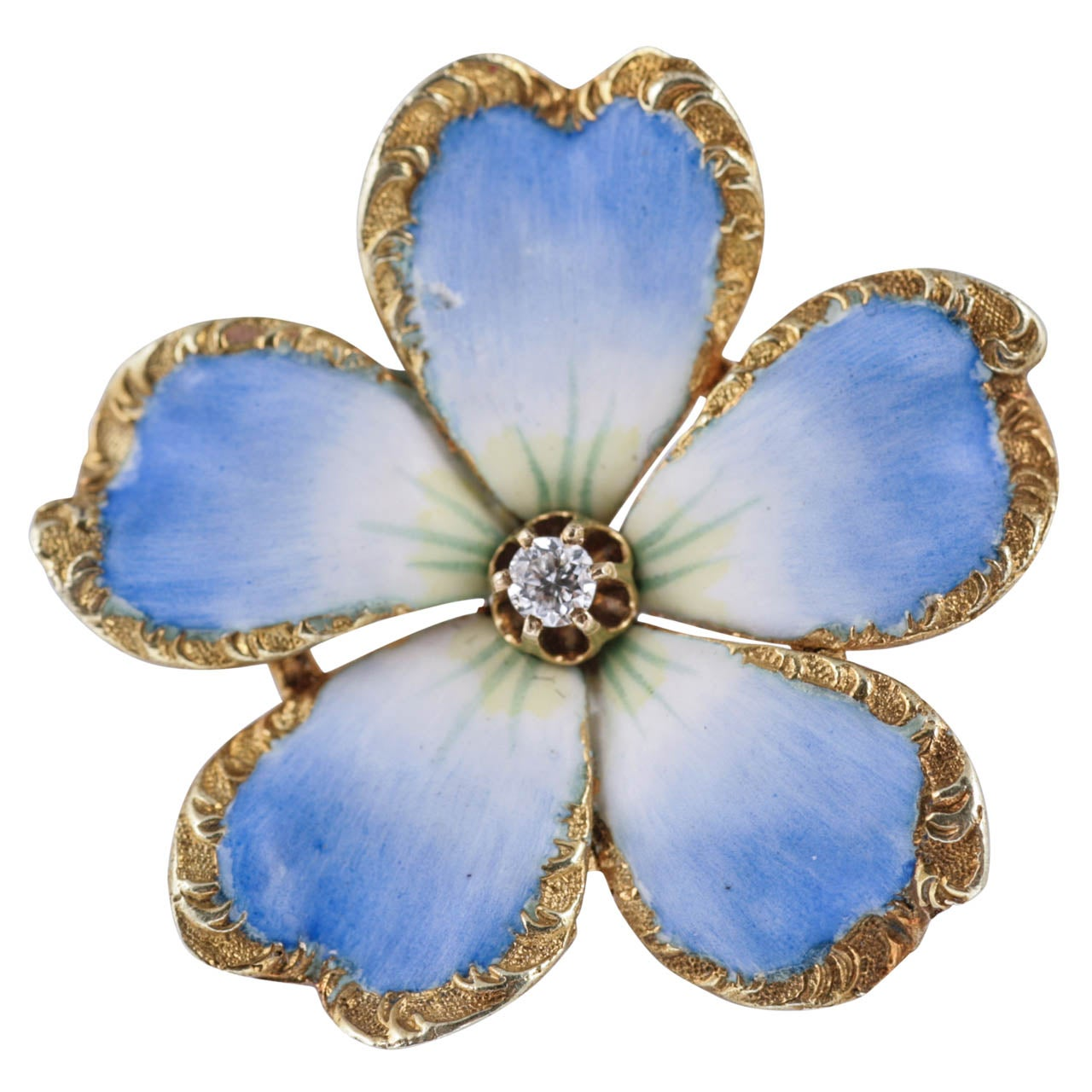 Blue Enamel Flower Brooch Pendant With Diamond At 1stdibs