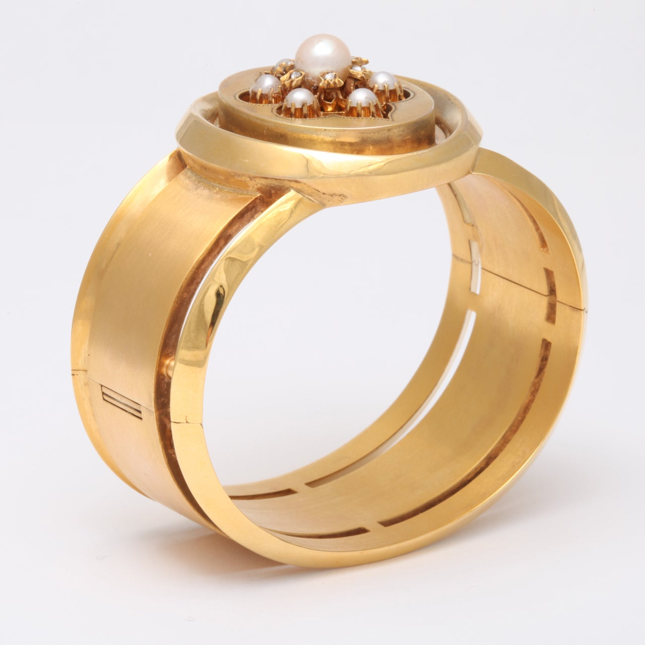 Victorian Pearl And Rose Diamond Gold Bangle For Sale 1