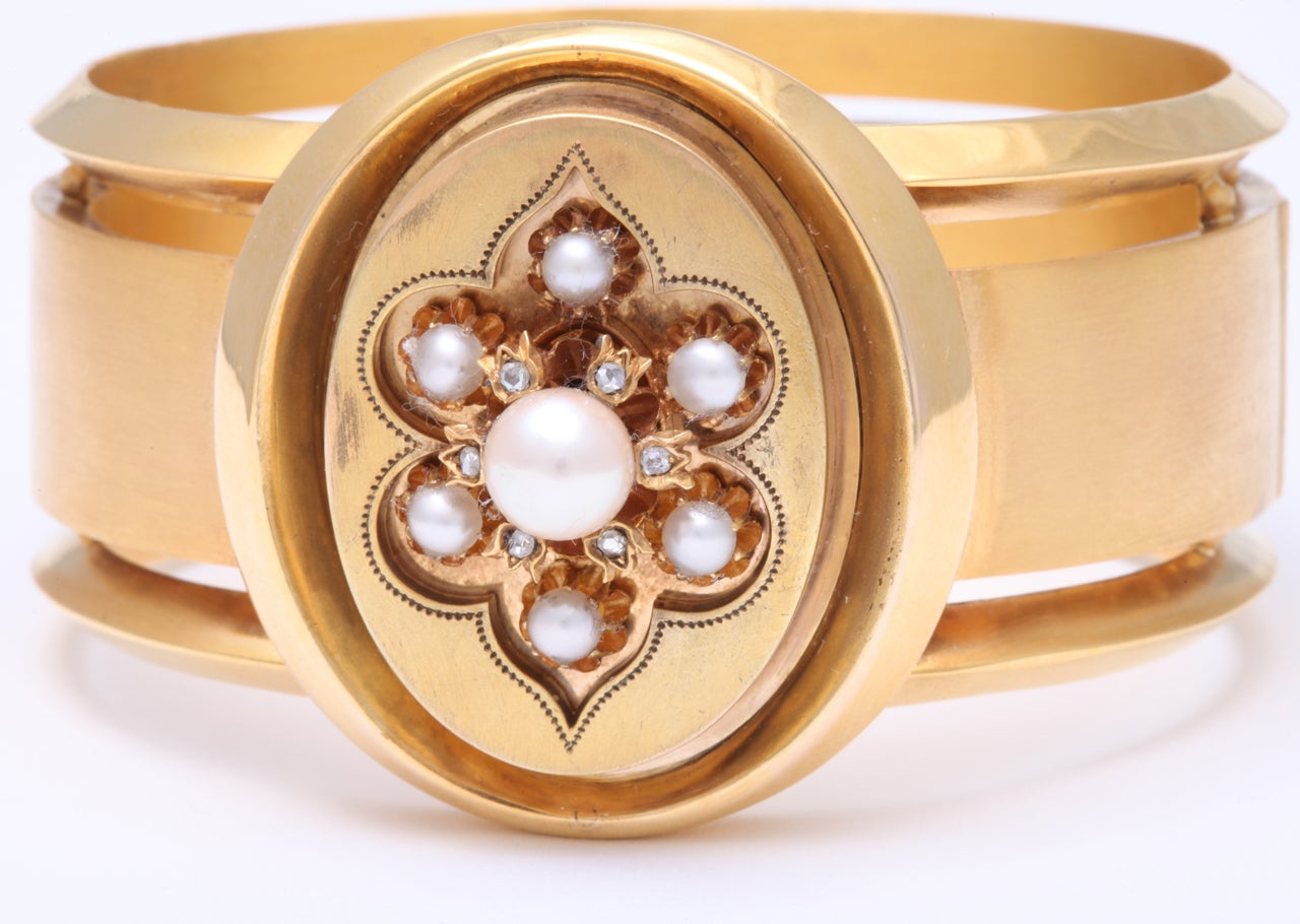 Victorian Pearl And Rose Diamond Gold Bangle For Sale 3