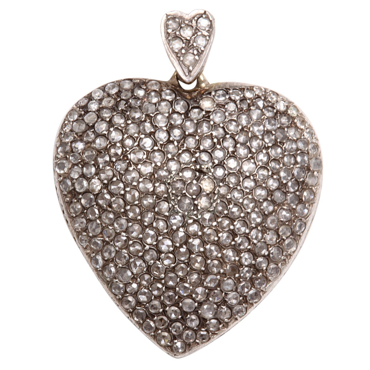 Large Antique Diamond Heart Pendant At 1stdibs