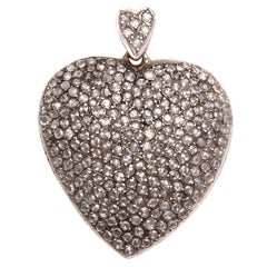 Large Antique Diamond Heart Pendant