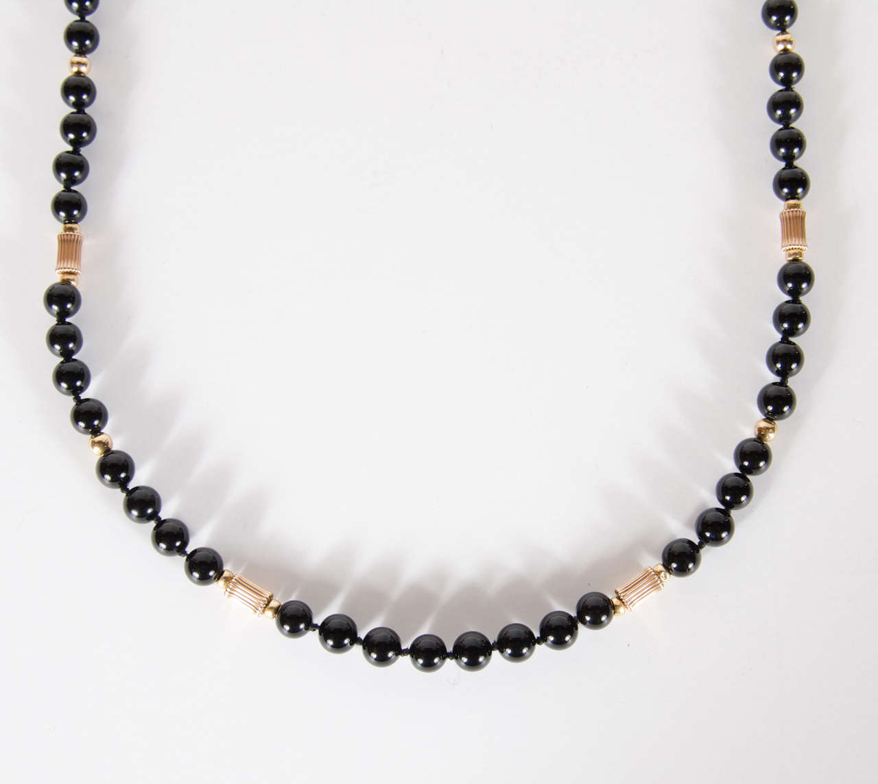 Black Onyx Gold Bead Necklace at 1stdibs