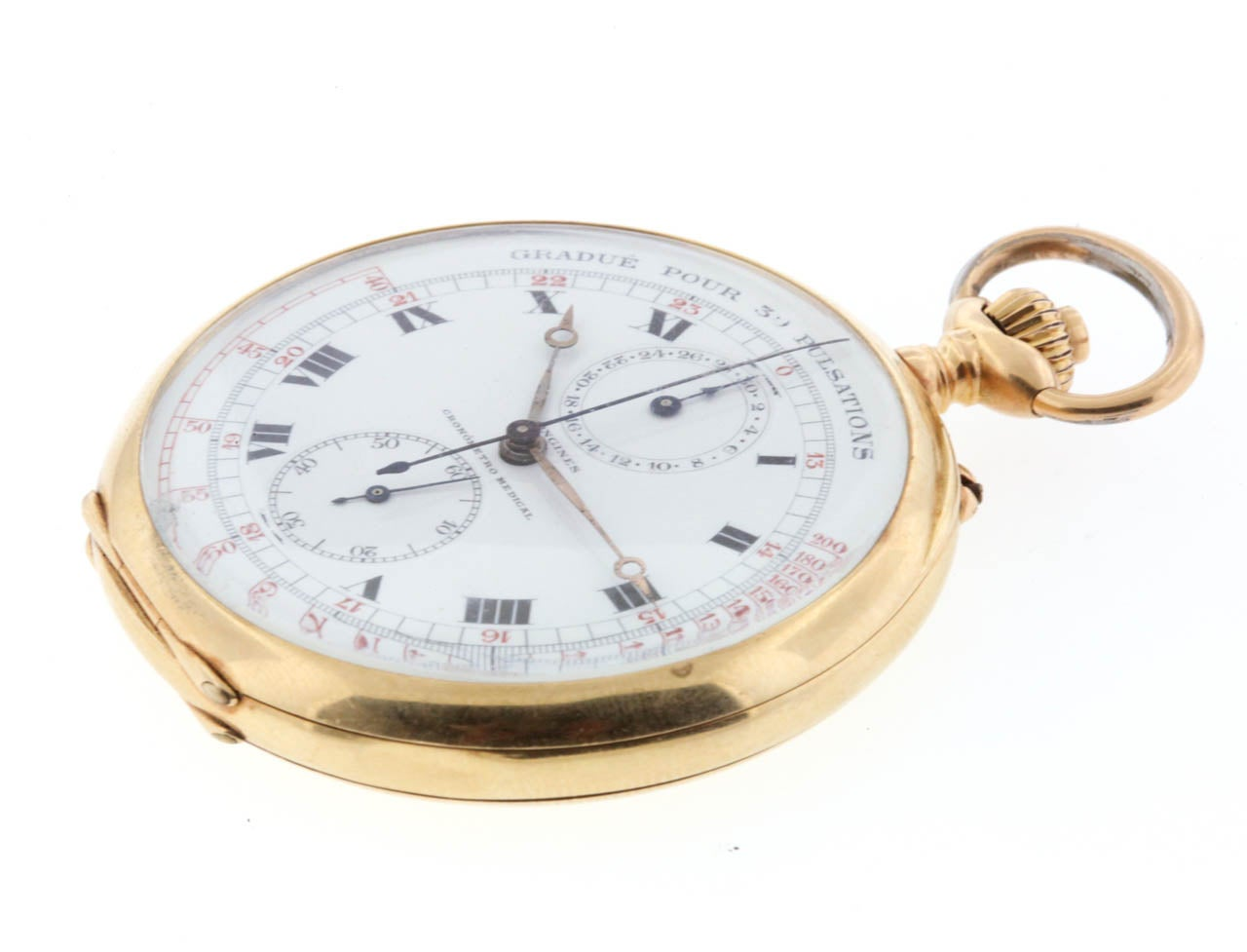longines yellow gold open chronograph pocket