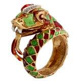 Italian Green and Red Enamel Snake Ring