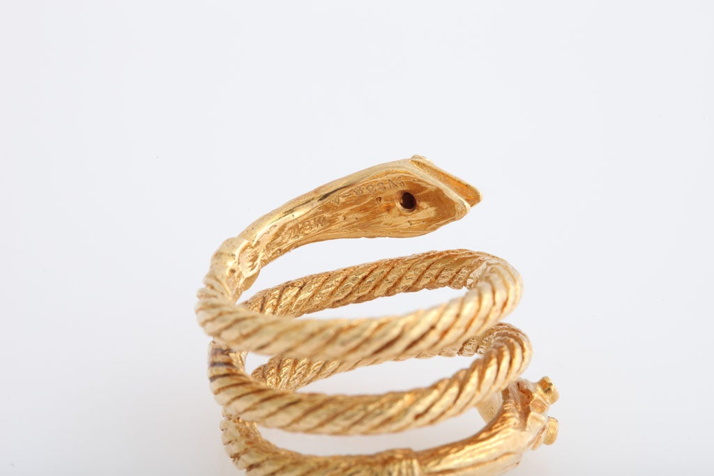 Wide Coiled Snake Ring With Two Heads At 1stdibs
