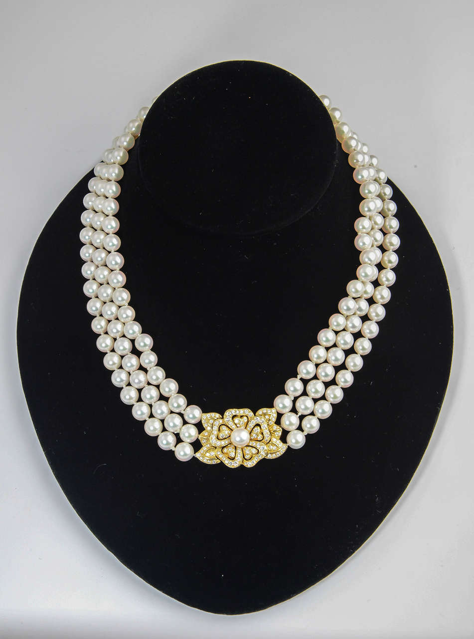 Mikimoto Triple Strand Pearl Necklace With Diamond Flower 2