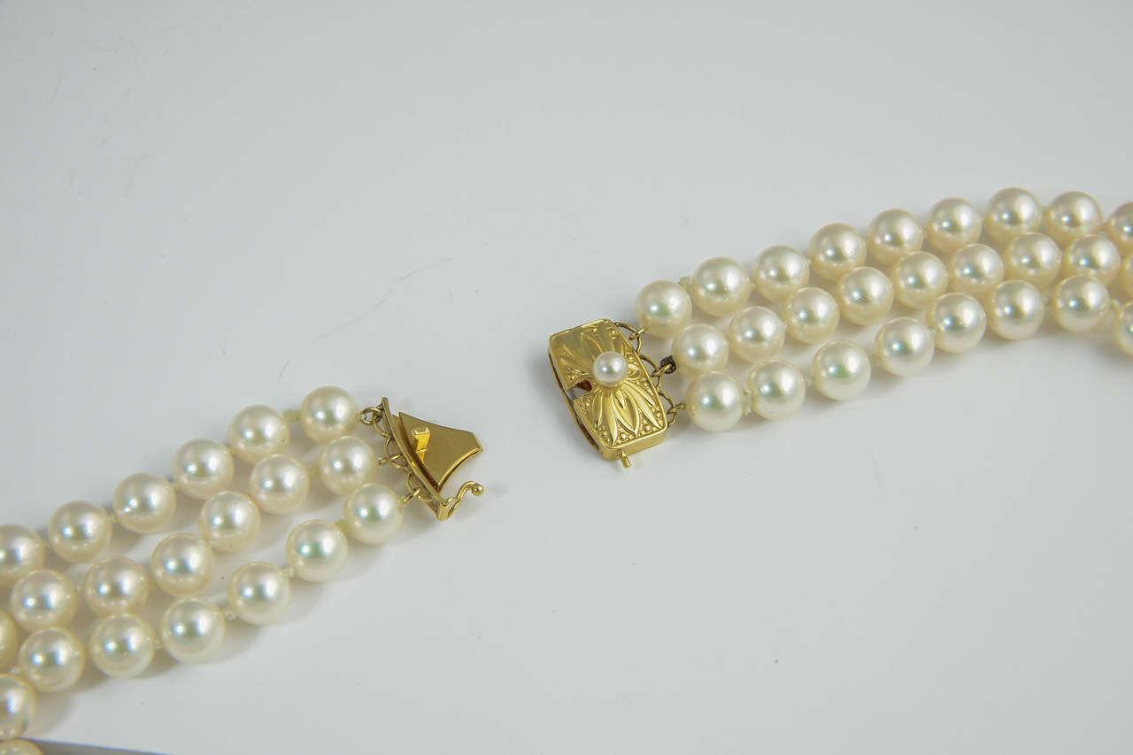 Mikimoto Triple Strand Pearl Necklace With Diamond Flower
