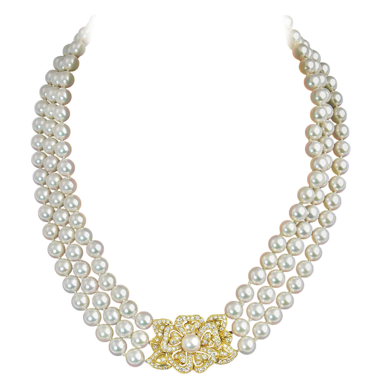 c11fca8d2d18 Mikimoto Triple Strand Pearl Necklace with Diamond Flower at 1stdibs