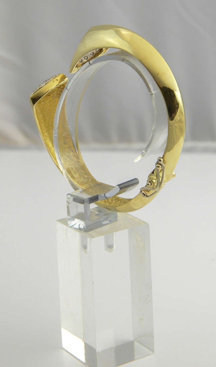 Women's 1970s Diamond Gold Bangle Bracelet For Sale