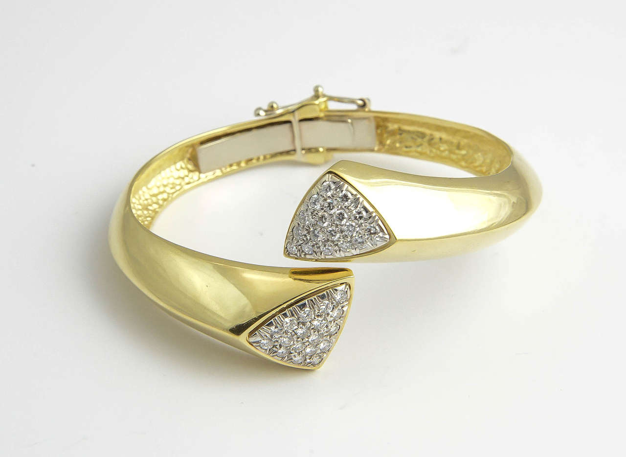 1970s Diamond Gold Bangle Bracelet For Sale 1