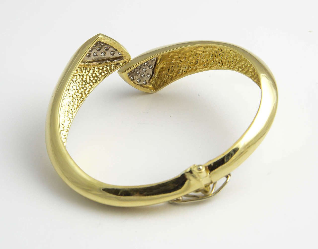1970s Diamond Gold Bangle Bracelet For Sale 2