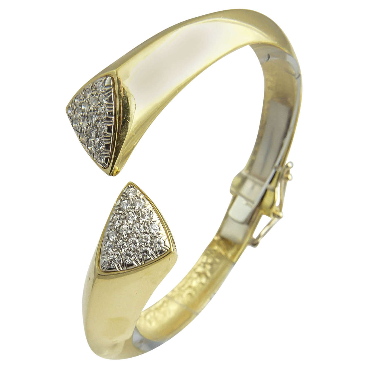 1970s Diamond Gold Bangle Bracelet For Sale