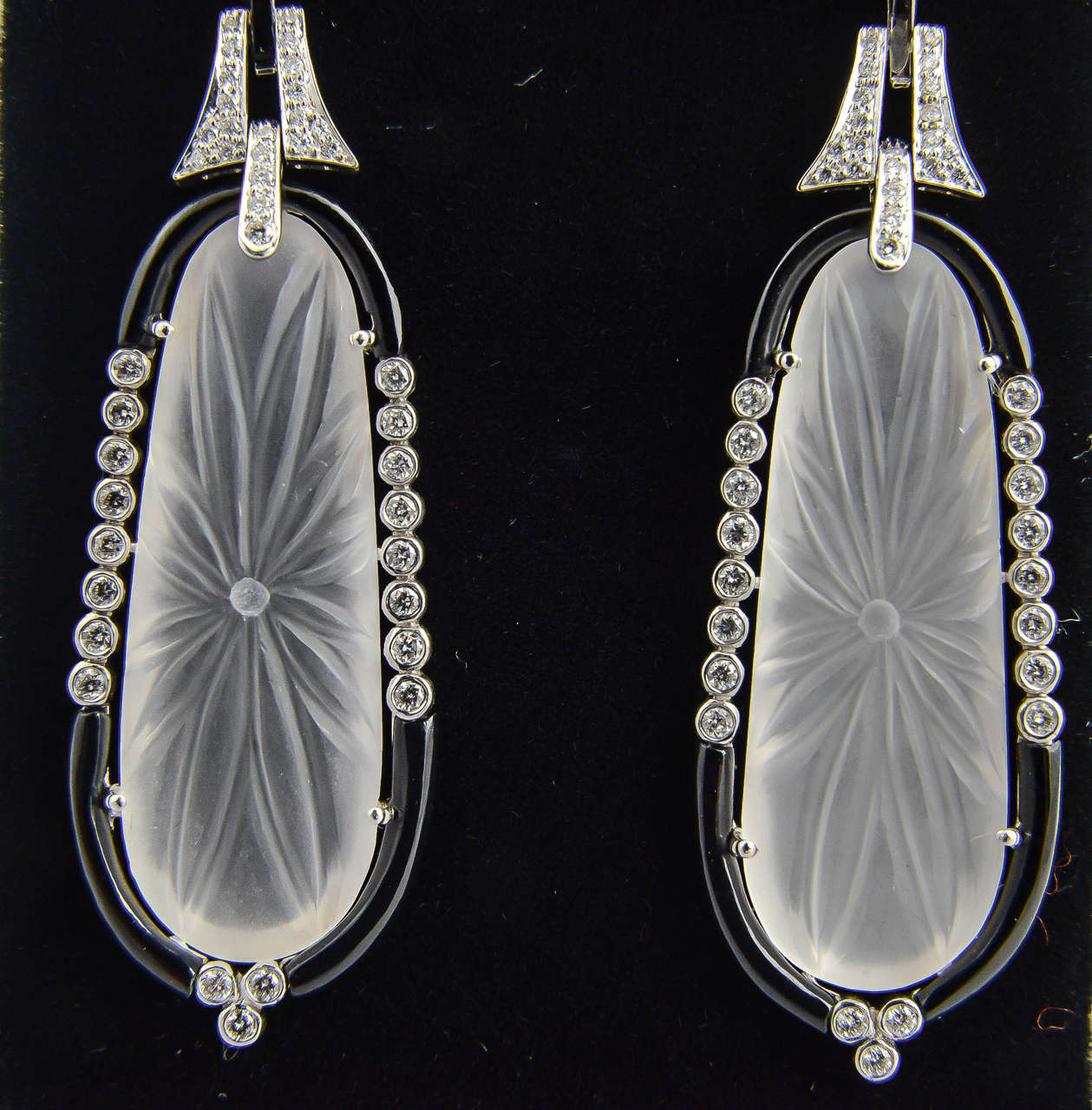 Carved Rock Crystal Onyx Diamond Gold Dangle Earrings For Sale 4