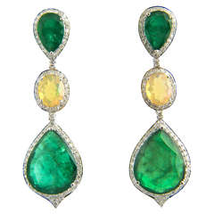 Red Carpet Style Long Emerald Opal Diamond Gold Earrings