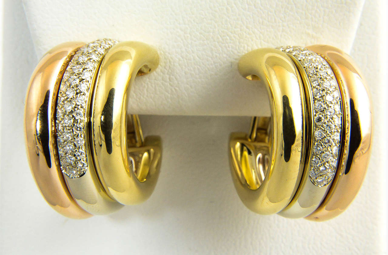 1970's Cartier Diamond And Tri Color Gold Hoop Earrings 2