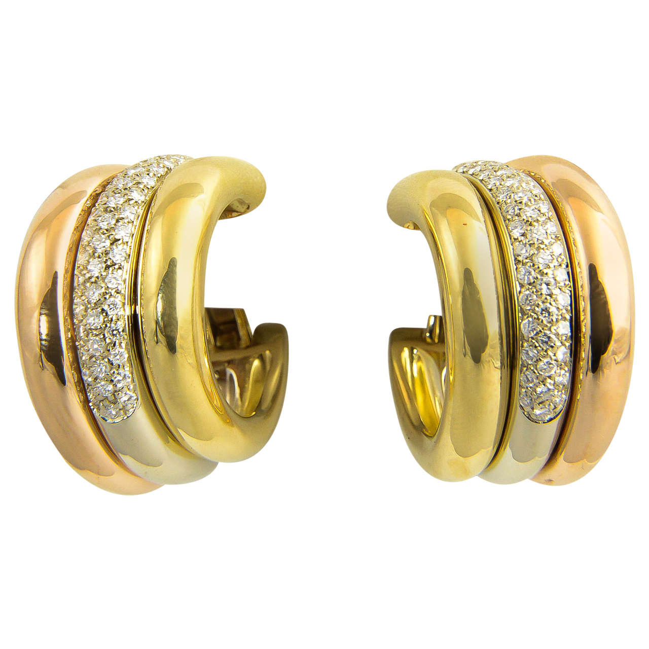 1970's Cartier Diamond And Tri Color Gold Hoop Earrings 1