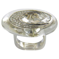 Contemporary Rock Crystal White Topaz Diamond Gold Ring