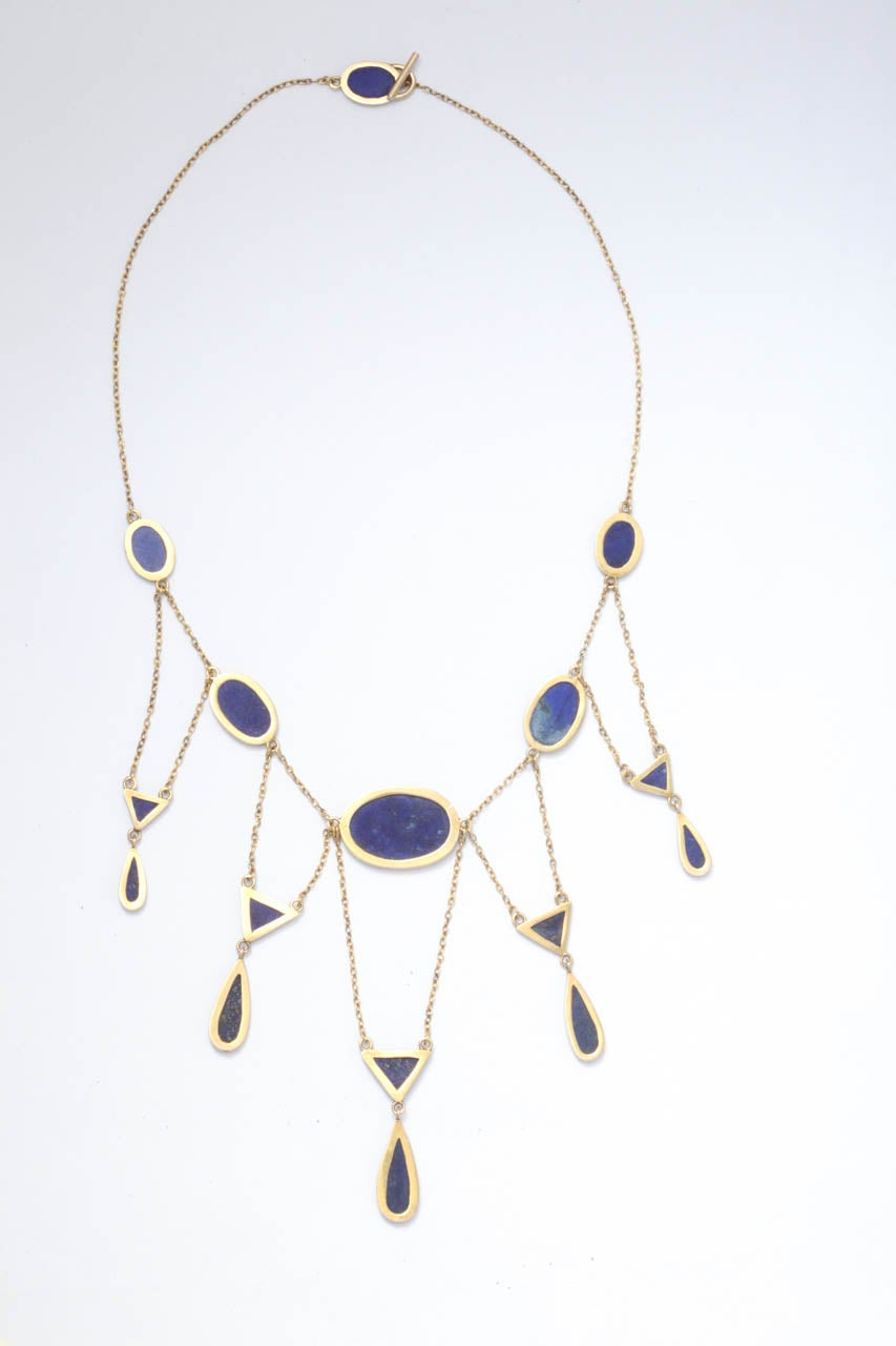 Art deco delicate lapis lazuli gold fringe necklace at 1stdibs for Art 1576 cc