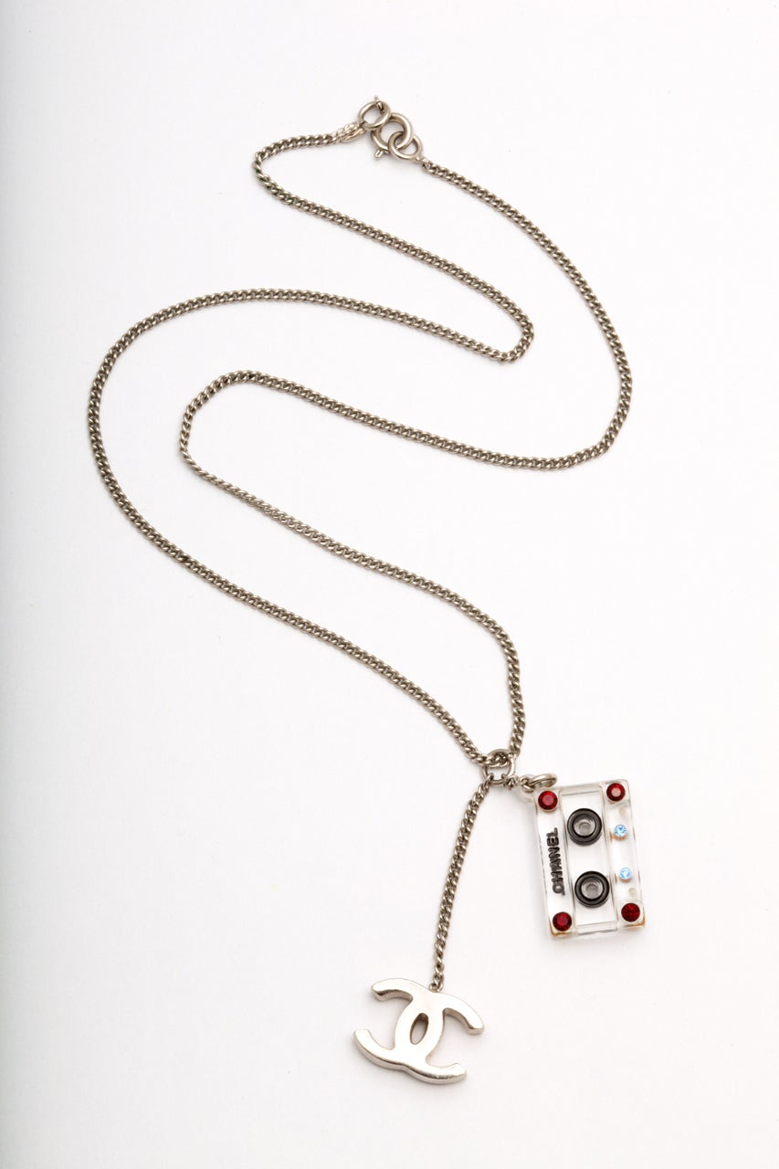Chanel Cassette Tape Motif Necklace with CC 2