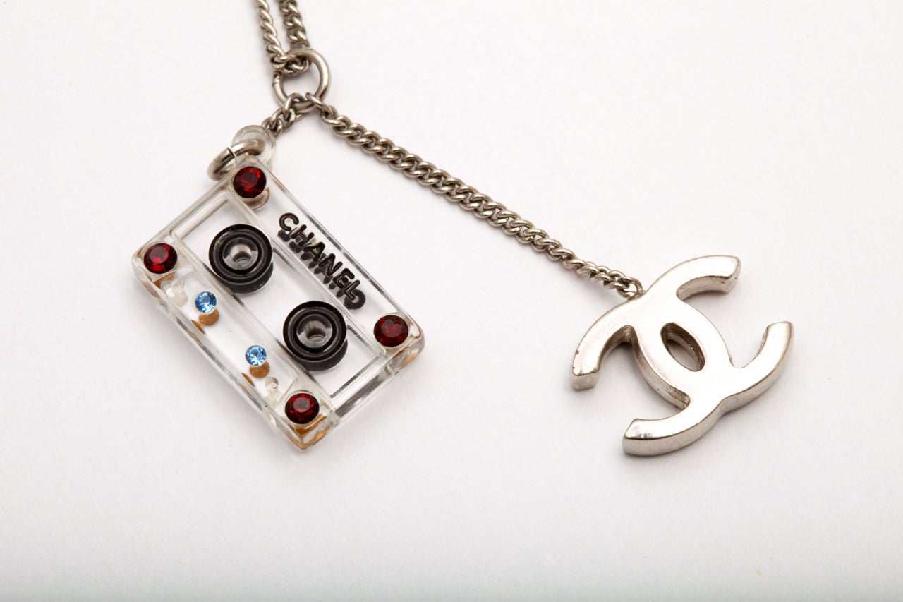 Chanel Cassette Tape Motif Necklace with CC 4