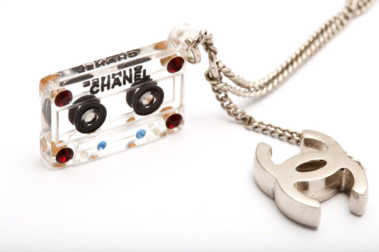 Chanel Cassette Tape Motif Necklace with CC 5