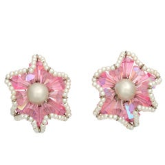 """Vendome Pink Crystal and """"Pearl"""" Earrings"""