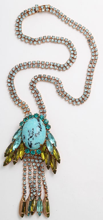 hattie Carnegie Faux Turquoise and Citrine Necklace 3