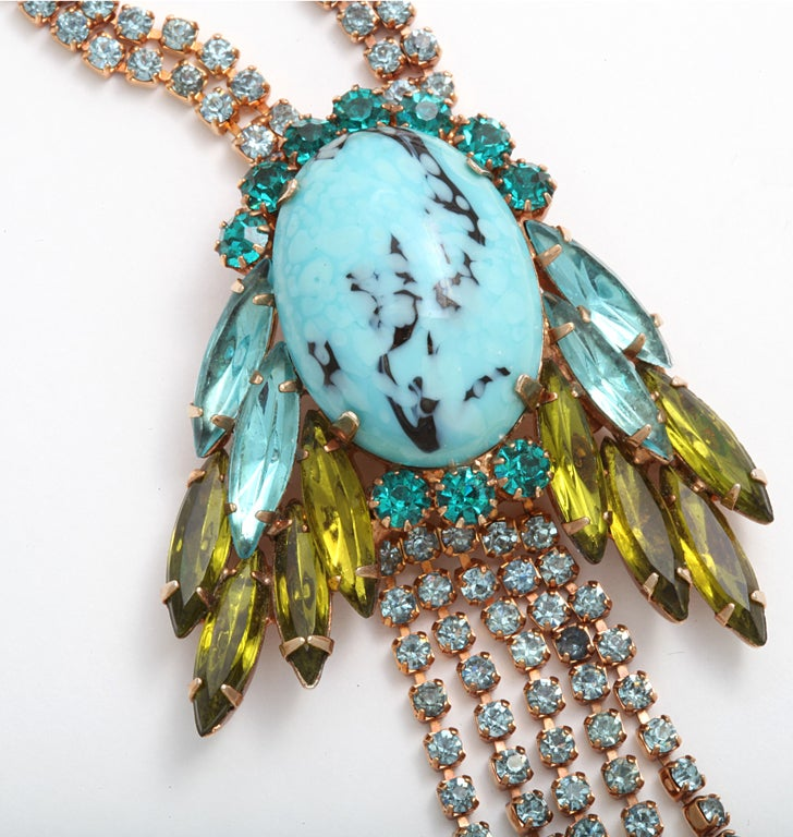 hattie Carnegie Faux Turquoise and Citrine Necklace 4