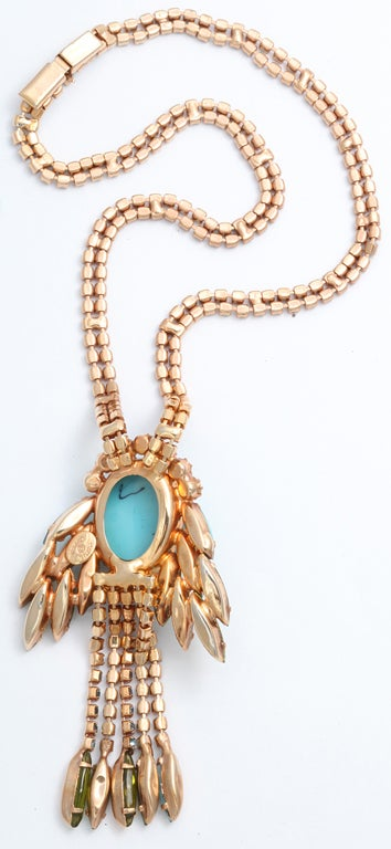 hattie Carnegie Faux Turquoise and Citrine Necklace 5