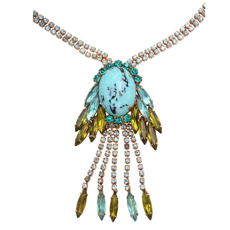 hattie Carnegie Faux Turquoise and Citrine Necklace 1