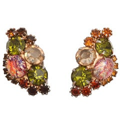 Coral, Citrine and Topaz Color Earrings