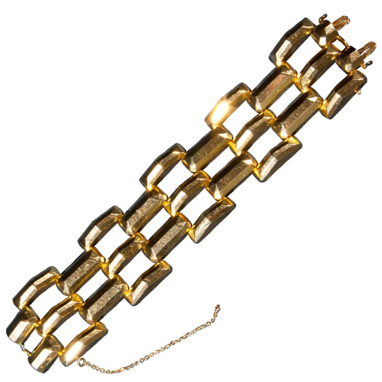 14 karat gold bracelet with geometric pattern at 1stdibs