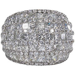 Fabulous Rounded Dome Bombe Style Diamond Gold Cocktail Ring