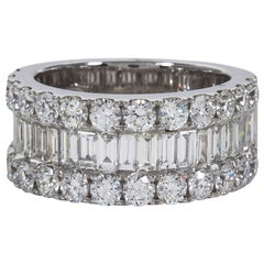 Wide Round and Baguette Diamond Gold Band