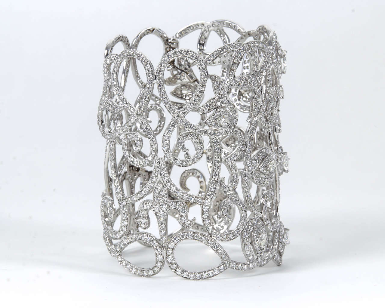 Magnificent Wide Diamond Cuff Bracelet 2