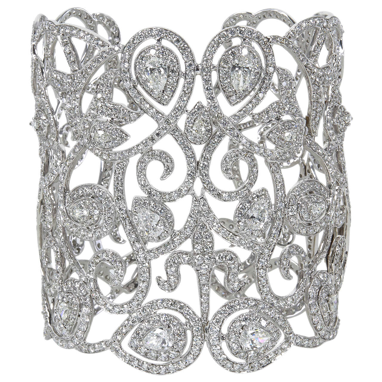 Magnificent Wide Diamond Cuff Bracelet