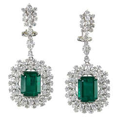 Emerald Diamond Gold Drop Earrings