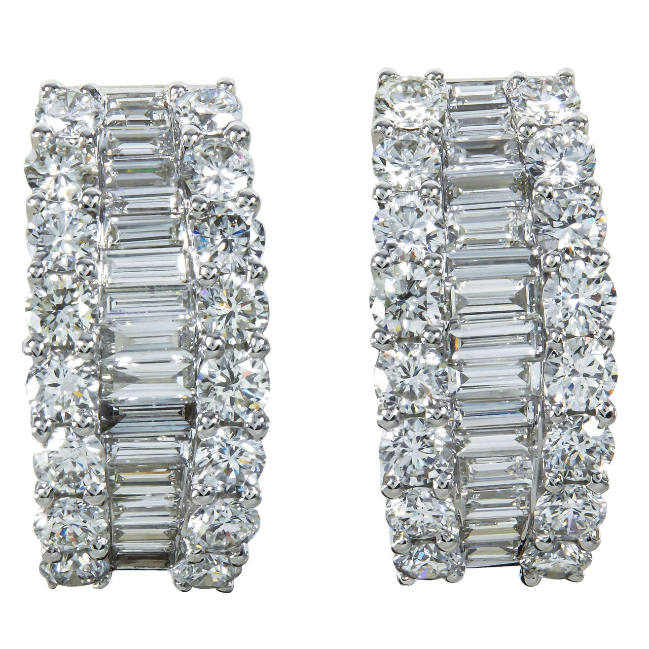 7e259acebe43b Baguette and Round Diamond Gold Huggie Hoop Earrings