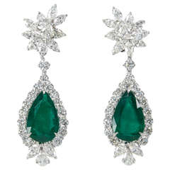Emerald Diamond Platinum Drop Earrings