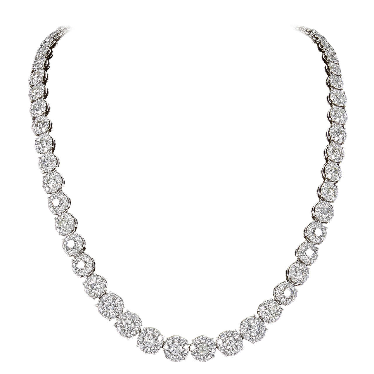 24 carat diamond cluster tennis necklace for sale at 1stdibs 24 carat diamond cluster tennis necklace for sale aloadofball Image collections