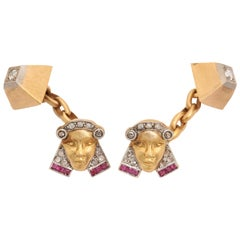 Exceptional Pharoah & Pyramid Cufflinks with Rubies & Diamonds