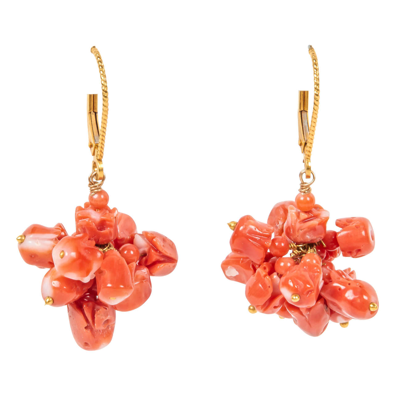 Natural Coral Tulip Cluster Earrings