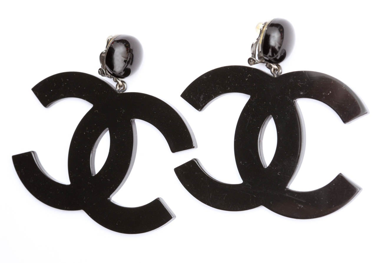 Very rare Chanel large iconic CC dangling earrings.