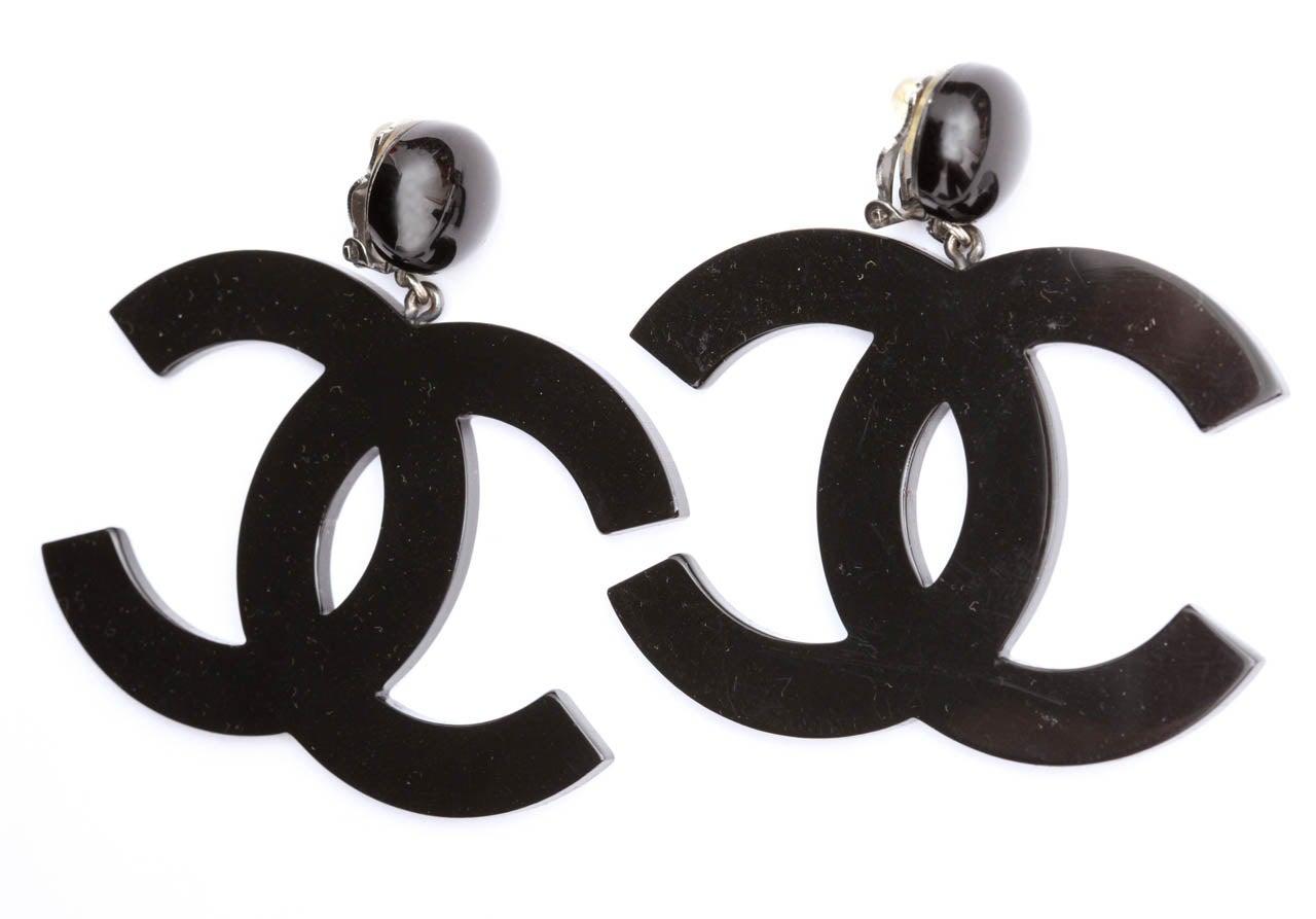 Chanel Large Black CC Dangling Earrings 2
