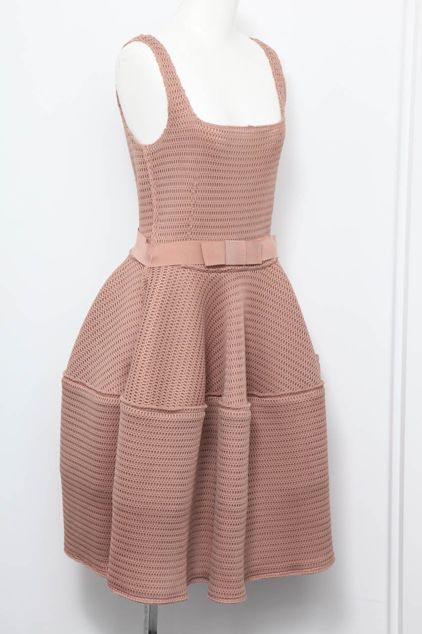 Lanvin sold out, famous honeycomb dress in beige.
