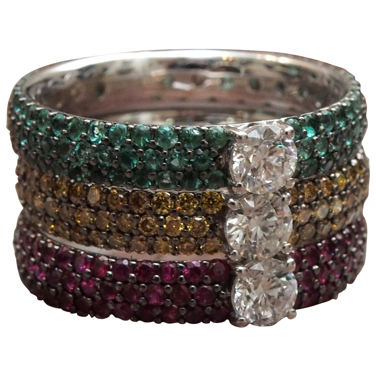 emerald ruby stacking rings at 1stdibs