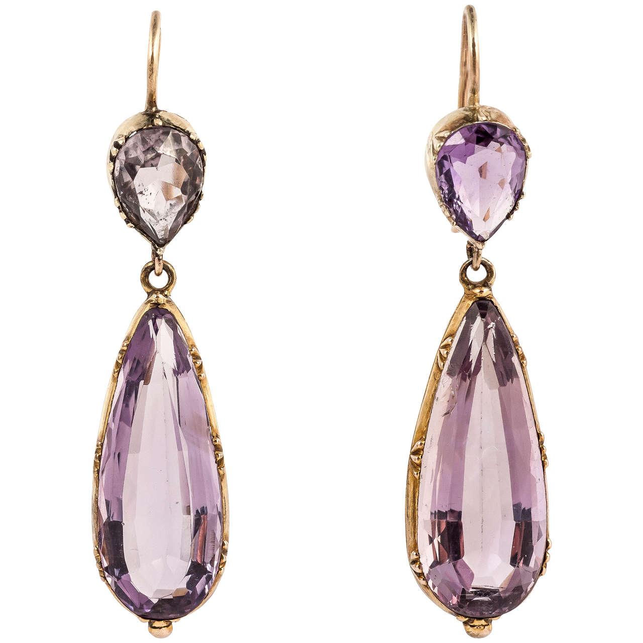 Regency Amethyst Gold Drop Earrings For