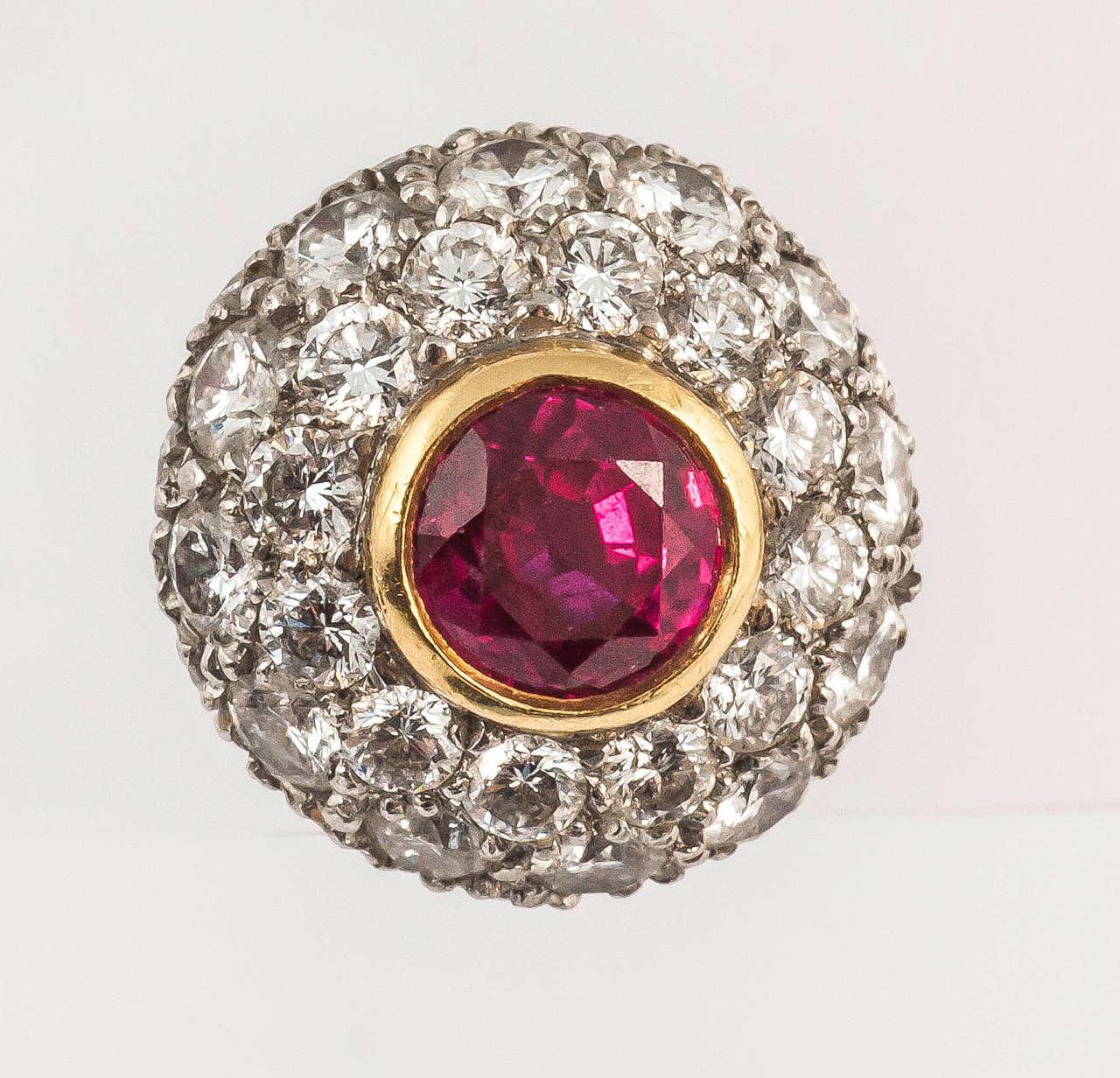 Tiffany & Co. Ruby Diamond Gold Cluster Earrings 2