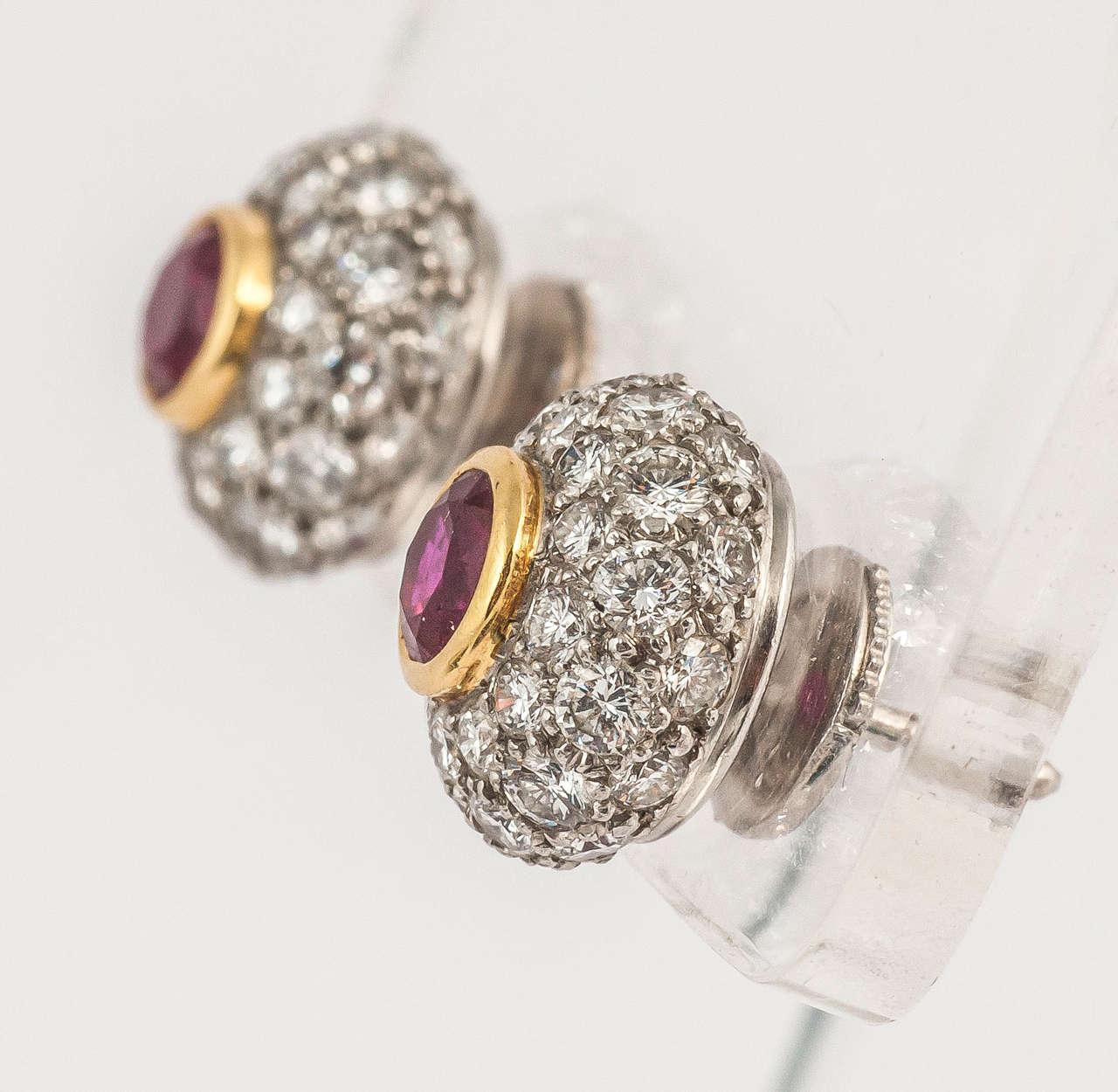 Modern Tiffany & Co. Ruby Diamond Gold Cluster Earrings For Sale